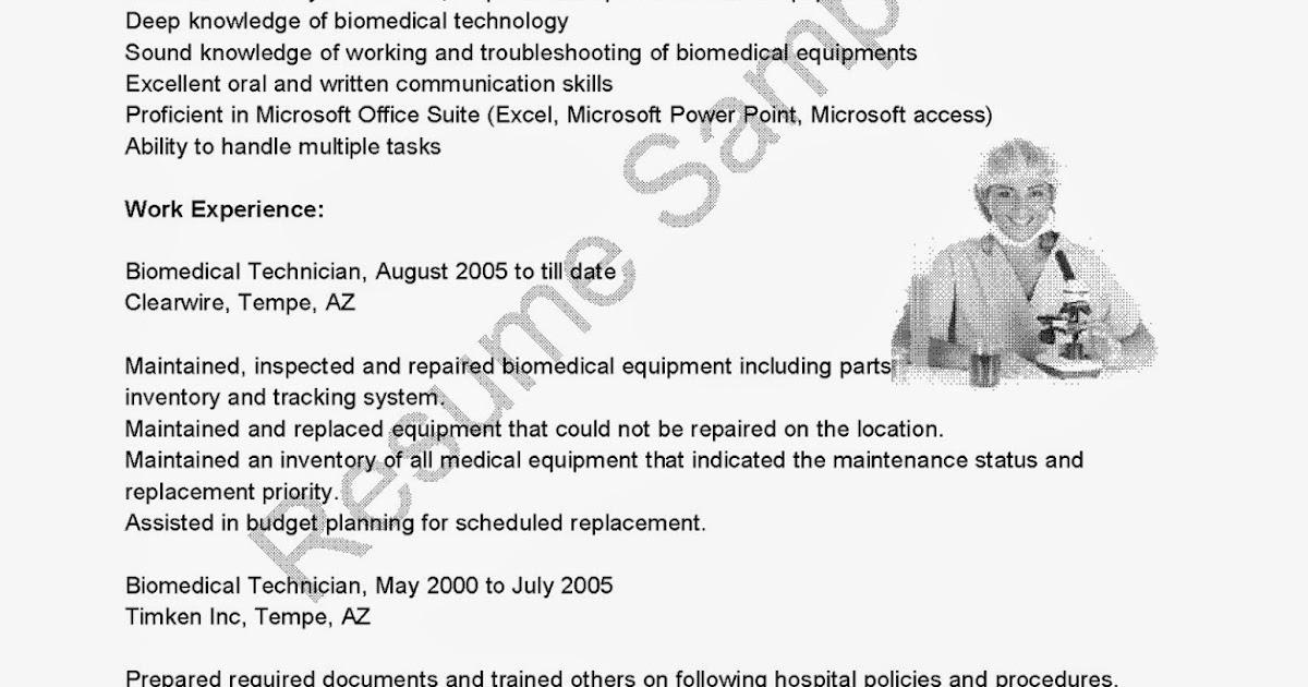 biomedical technician resumes - Selol-ink