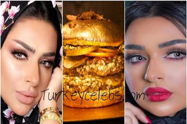 Amal Al Ansari makes a fuss by eating a burger in gold .