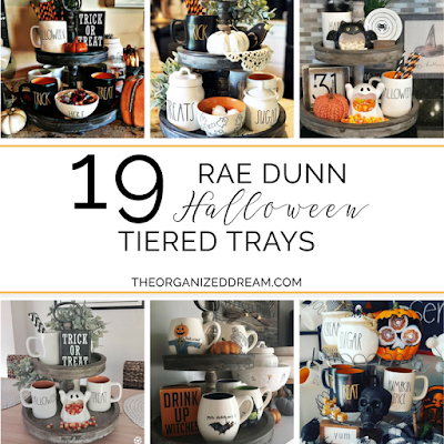 19 examples of tiered trays decorated with Rae Dunn for Halloween.