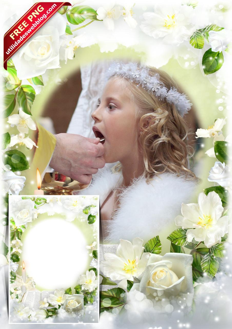Hermoso marco de primera comunión con flores blancas