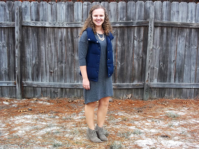 7 Reasons Why You Should Donate to Dressember + a Simple Outfit & Grace + Lace Link Up grey cocoon hem shift dress navy puffer vest light pink necklace taupe desert lace up booties outfit inspiration fashion style human trafficking