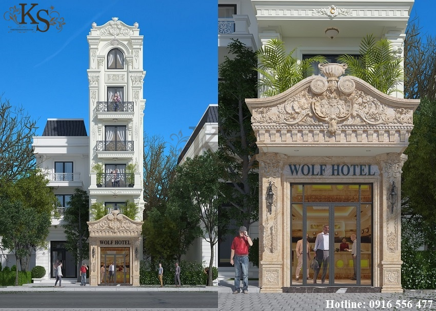 Hình ảnh: Thiết kế khách sạn mini tại Hà Nội được xây dựng theo phong cách Pháp cổ điển, từng hoa văn chi tiết đều toát lên sự sang trọng và đẳng cấp.