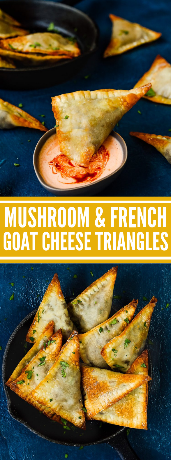 Mushroom and French Goat Cheese Triangles #vegetable #vegetarian