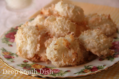 A slight crunch on the outside and chewy on the inside, these light and airy cookies are made with coconut, sugar, flour and beaten egg whites.