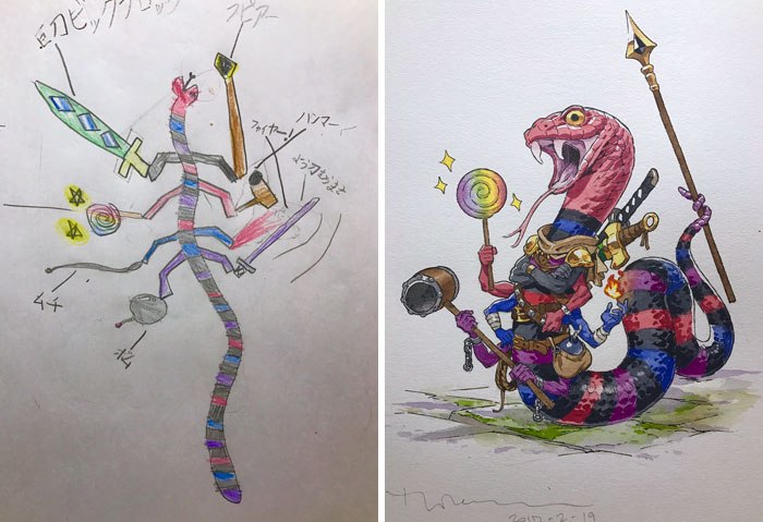 #5 Snake Fighter - Dad Turns His Sons' Doodles Into Anime Characters, And The Result Is Amazing