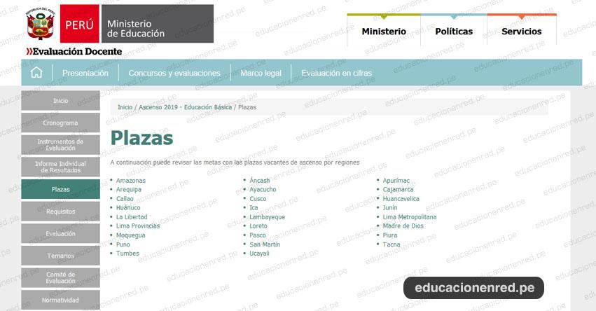 MINEDU: Plazas para el Concurso de Ascenso - Educación Básica 2019 (21 Noviembre) www.minedu.gob.pe