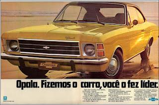 propaganda Chevrolet Opala - 1975, Opala 75, GM anos 70, Chevrolet década de 70, carros Chevrolet anos 70, Oswaldo Hernandez
