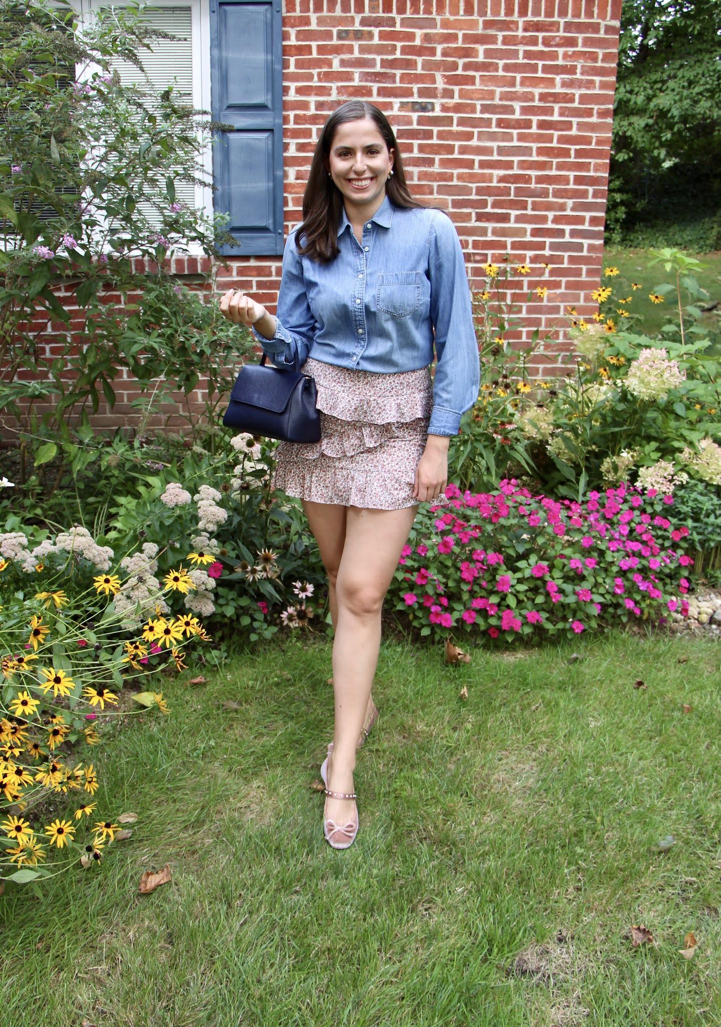 skirt, denim shirt, chambray top, ruffle pleated skirt, velvet shoes,