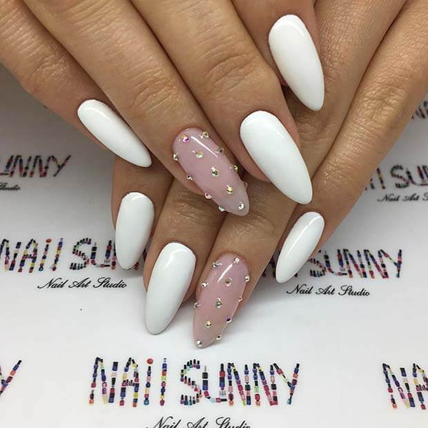 Nail Art Simple 2 Warna: +19 Simple Acrylic Nails Art Designs 2018 With Rhinestones