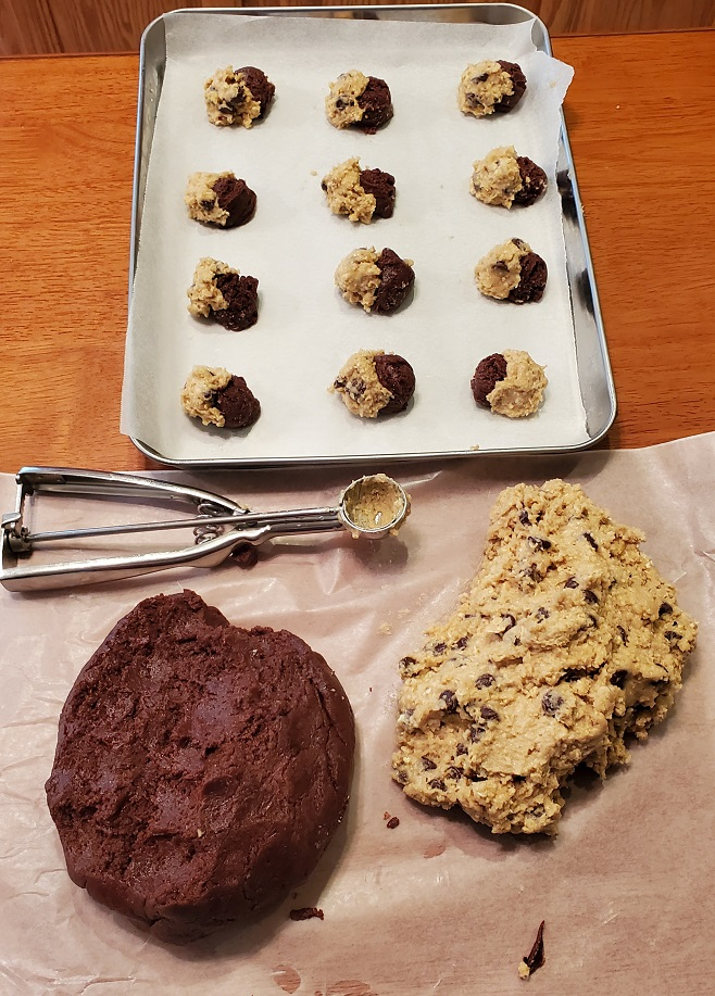 step by step on how to make cookie brookies with the dough