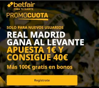 promocuota betfair Real Madrid v Levante 30-1-2021