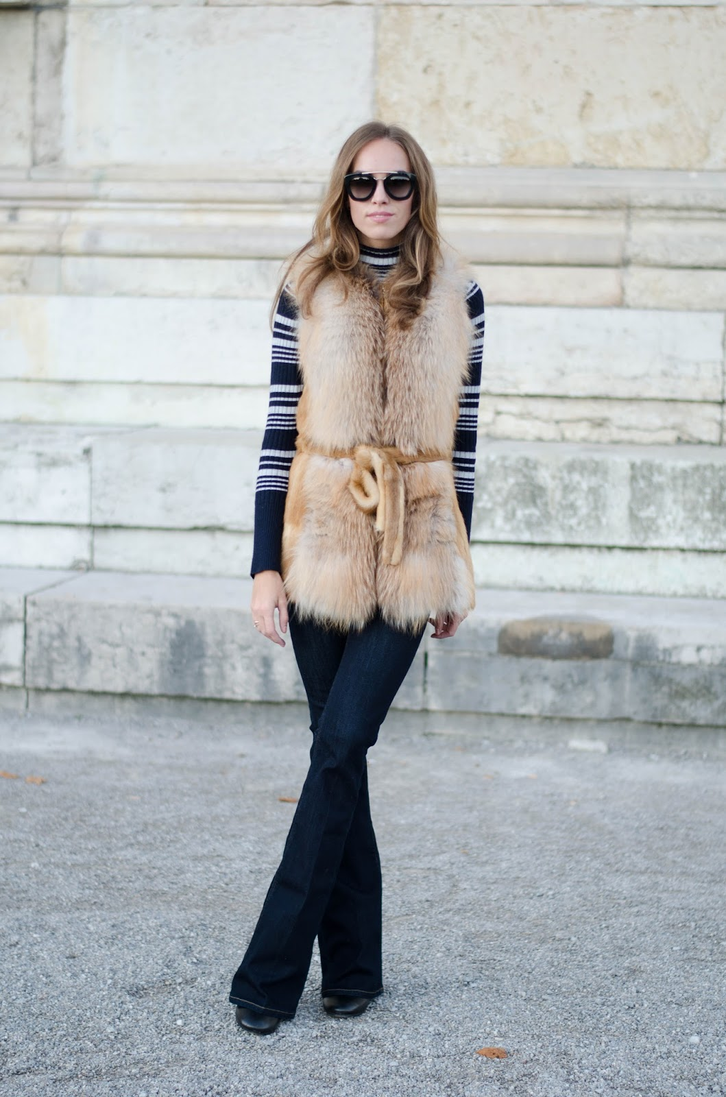 kristjaana mere fur vest flare jeans fall outfit