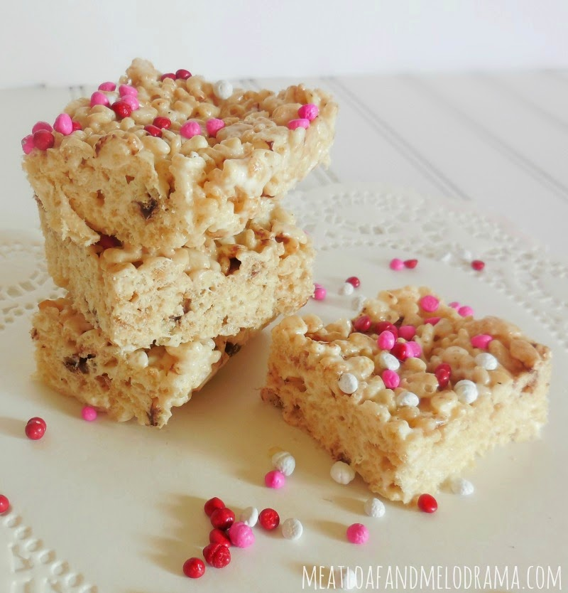 marshmallow rice krispy treats with candy sprinkles for valentines day