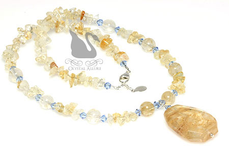 Citrine Quartz Gemstone Beaded Necklace (NB125)