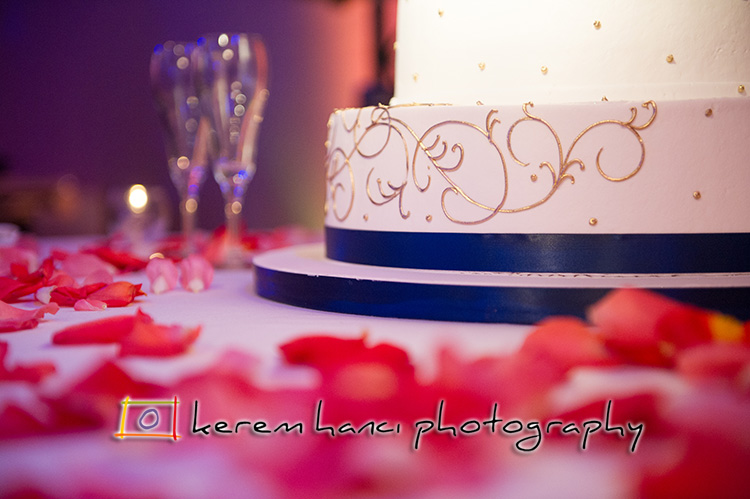 A delicious looking cake rise above the rose petals