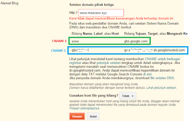 memasang domain niaga hoster di blogger