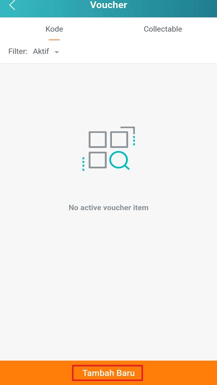 Tombol Untuk Menambah Voucher Toko di Aplikasi Lazada Seller Center.