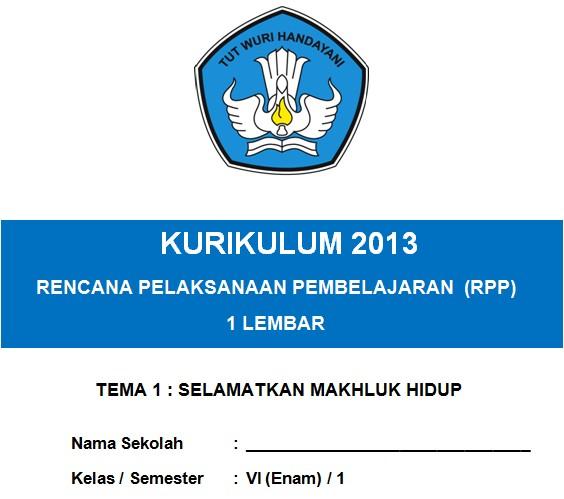 RPP 1 Lembar Kelas 6 Semester 1 Kurikulum 2013 Tema 1 Tahun 2020/2021 - Guru Krebet 3