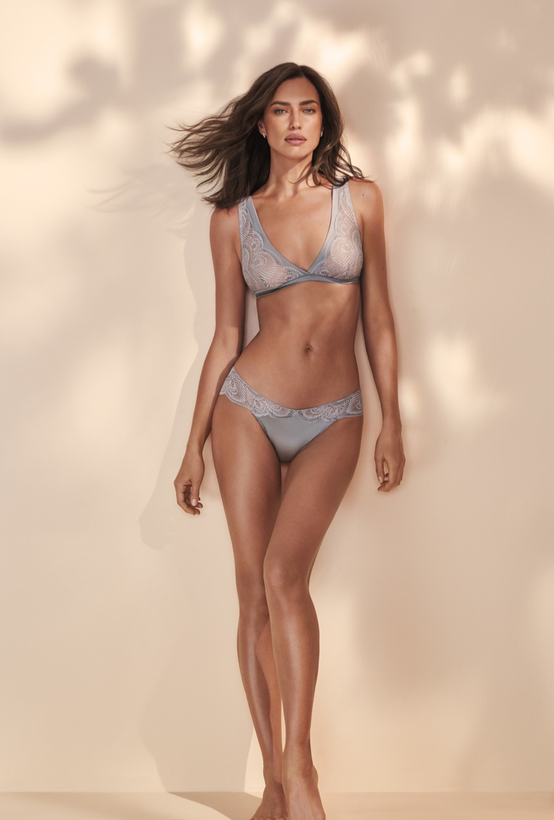 Irina Shayk strips for the Intimissimi Green Collection SS2020 Lingerie Campaign