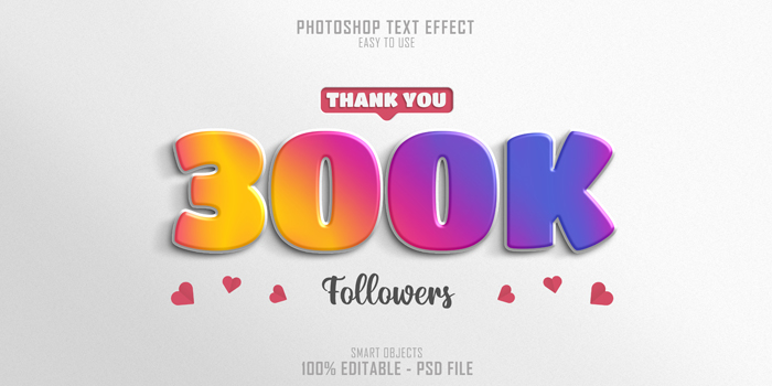 300k Social Media Followers 3D Text Style Effect