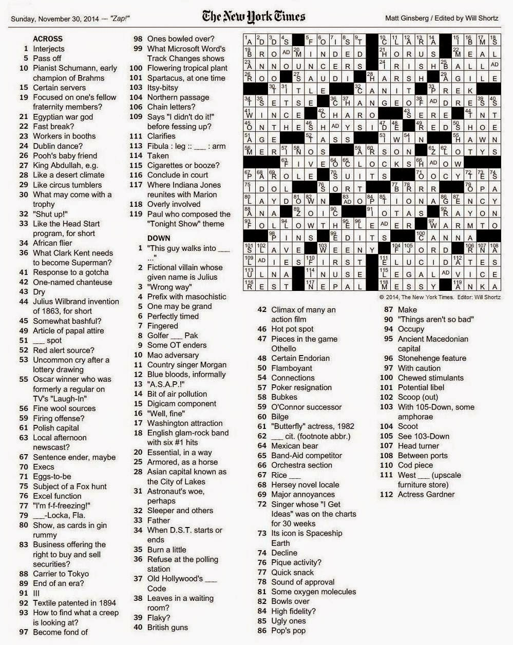 The New York Times Crossword In Gothic November 2014