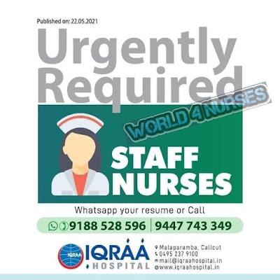 Urgently Required Staff Nurses to IQRAA Hospital, Kerala