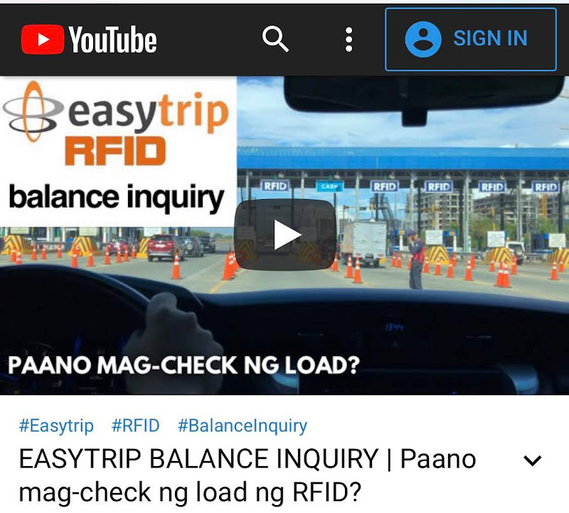 Autosweep and Easytrip Balance Inquiry