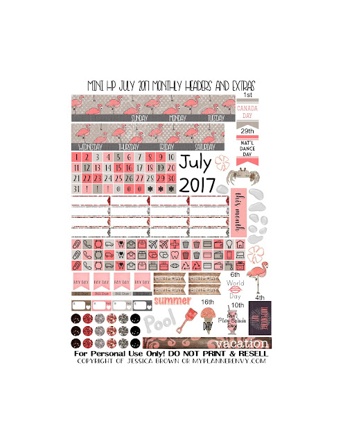 Free Printable July 2017 Monthly Headers and Extras for the Mini Happy Planner from myplannerenvy.com