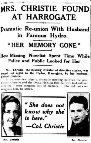 Artículo que anuncia que Agatha Christie ha aparecido