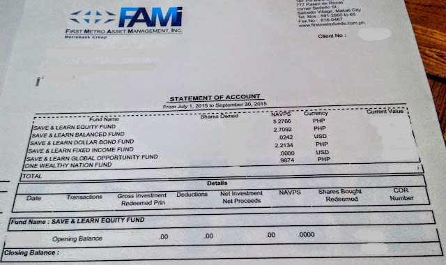 Statement of Account: FAMI Mutual Funds