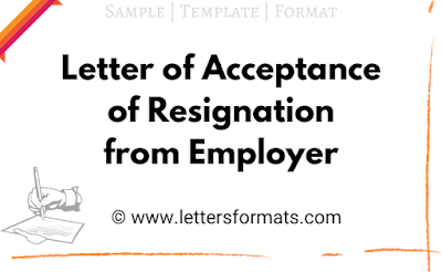 acceptance of resignation letter from employer to employee