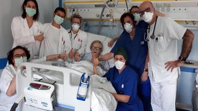 """Italiana de 95 anos é curada do covid-19 e """"orgulha"""" equipe médica"""