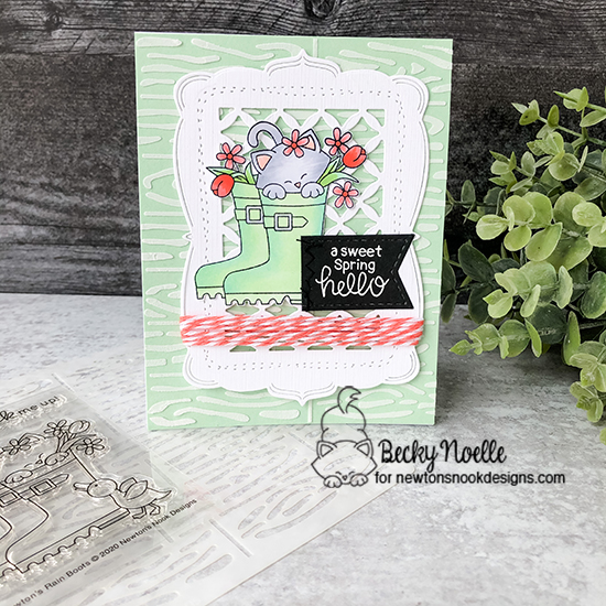 A sweet spring hello by Becky features Newton's Rain Boots, Woodland Spring, Hardwood, and Frames & Flags by Newton's Nook Designs; #newtonsnook