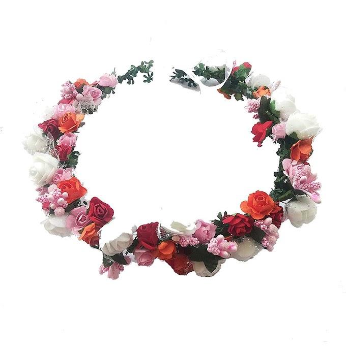 shree balaji Girl's Multicolor Flower Gracious Tiara/Crown Head Wrap