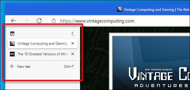مثال على علامات التبويب العمودية في Microsoft Edge.
