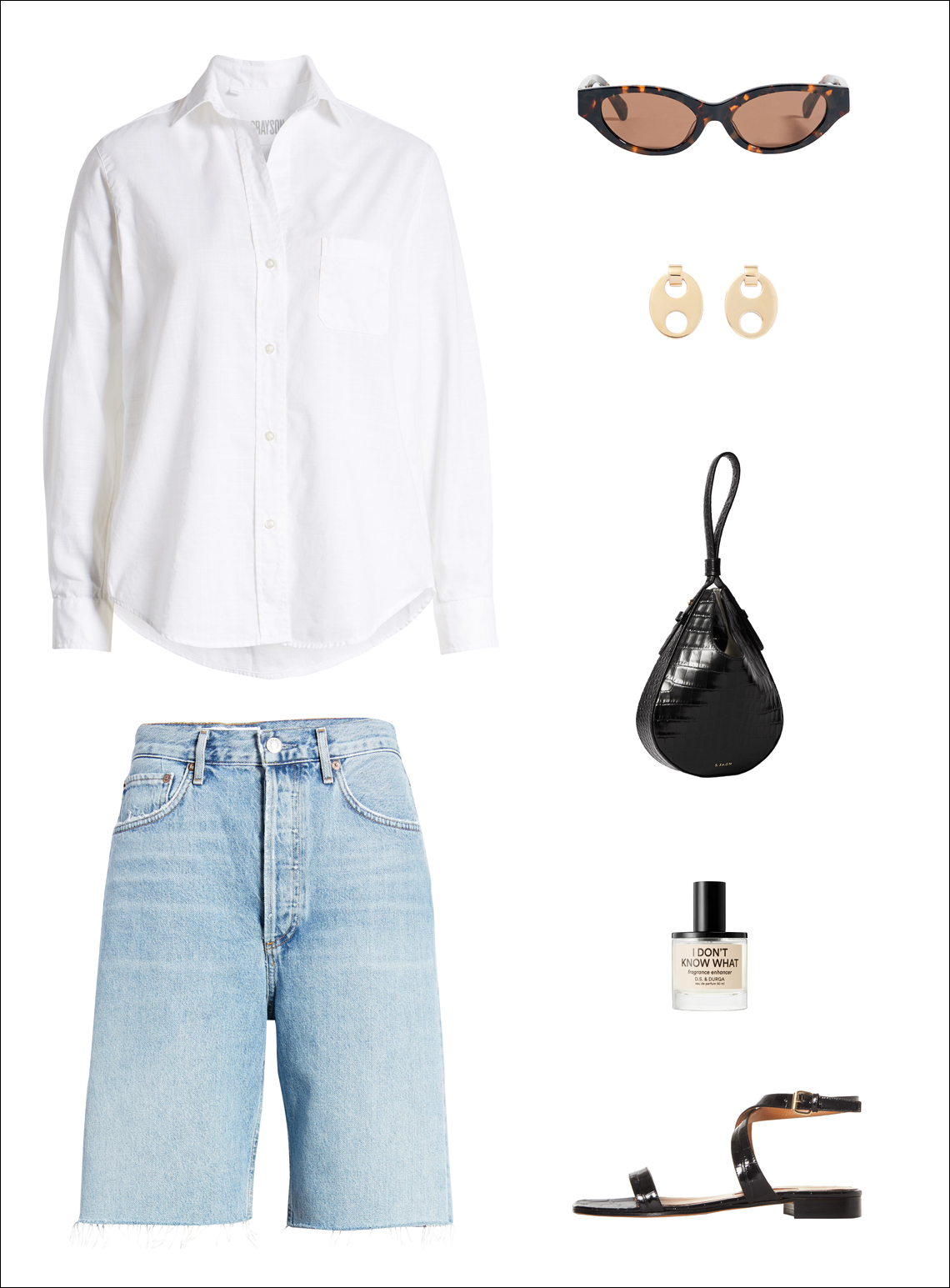 How to Wear Long Denim Shorts —Summer outfit with a white button-down shirt, cat-eye sunglasses, gold earrings, longline jean shorts, black mini bag, and flat sandals