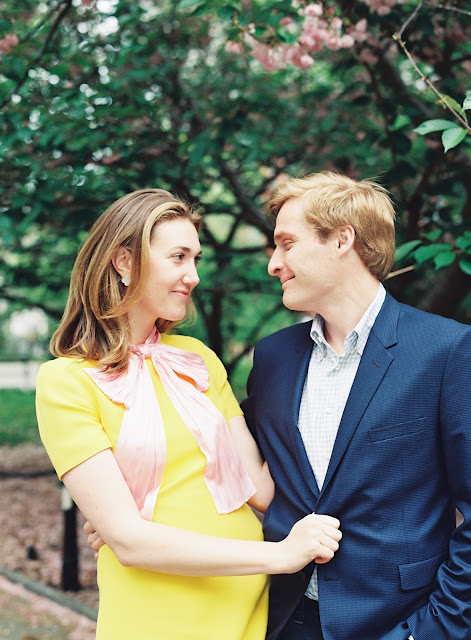 A classic, romantic spring portrait of Liz and Ted in the park in Greenwich Village Engagement Portraits