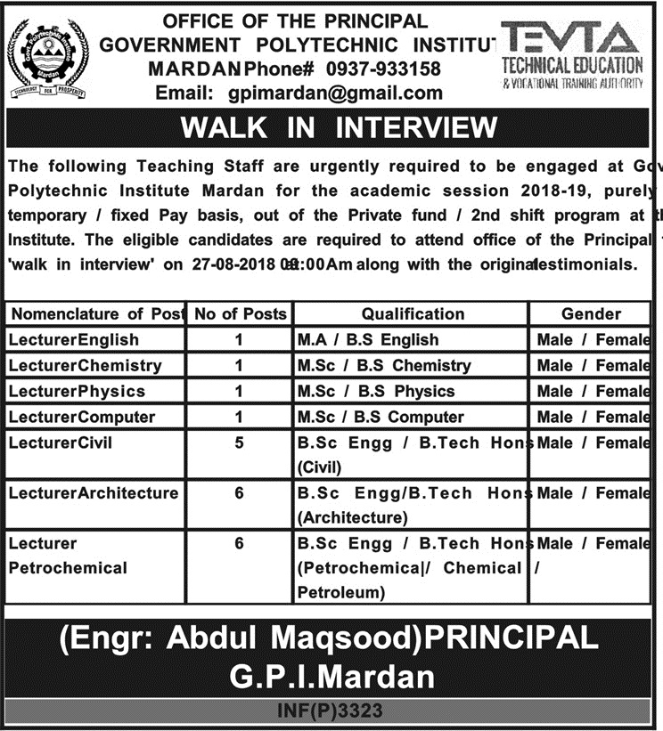 TEVTA Walk in Interview Jobs in Government Polytechnic Institute Mardan