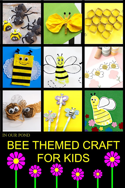 A Celebration of Bees- Ideas and Printables for Kids // In Our Pond // kids' crafts // free printables // kindergarten // preschool // day care // nursery // children's crafts