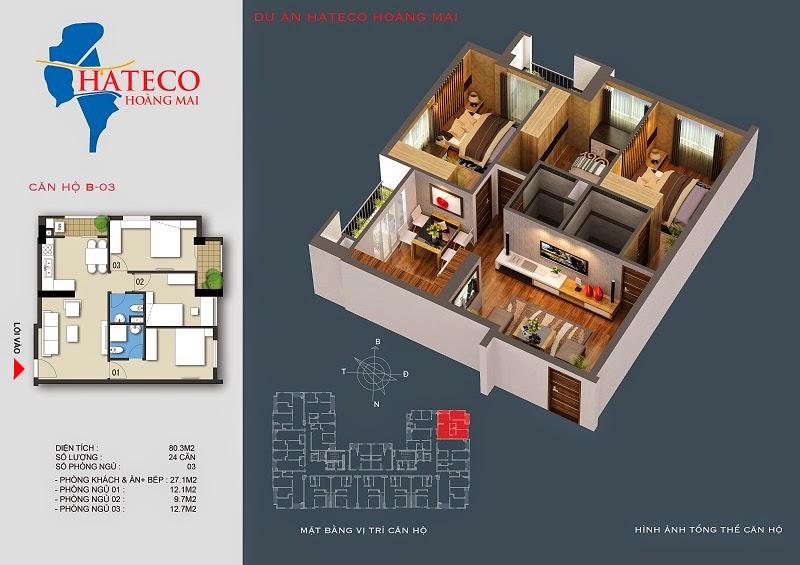 mặt bằng chung cư Hateco Hoàng Mai căn hộ B2303