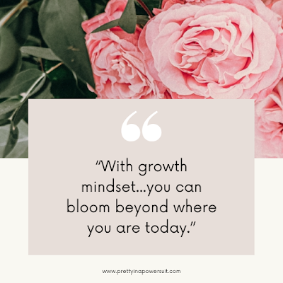 Growth mindset to help you succeed quote pretty floral background