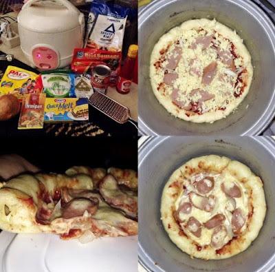 pizza buatan sendiri dirumah dengan rice cooker