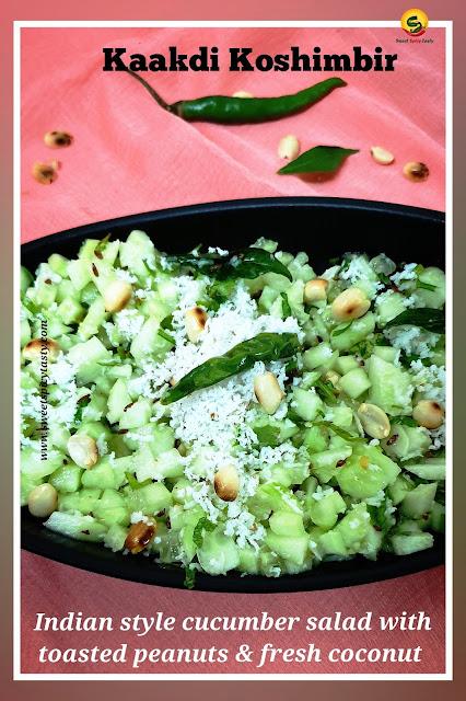 Kaakdi koshimbir is a typical Maharashtrian style cucumber salad with a garnish of fresh coconut and roasted peanuts