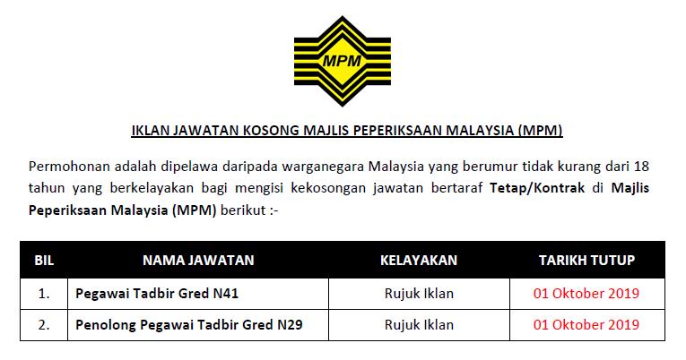 Jawatan Kosong Di Majlis Peperiksaan Malaysia Mpm Ejawatankini Com