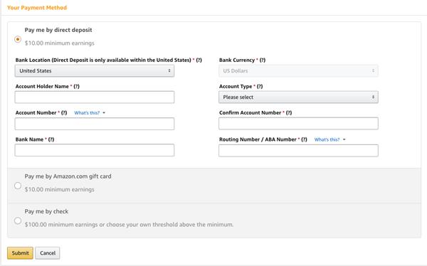 amazon affiliate bank account information