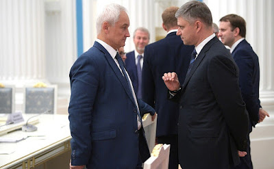 Presidential Aide Andrei Belousov and Russian Railways CEO Oleg Belozerov before the meeting with representatives of the Russian business community.