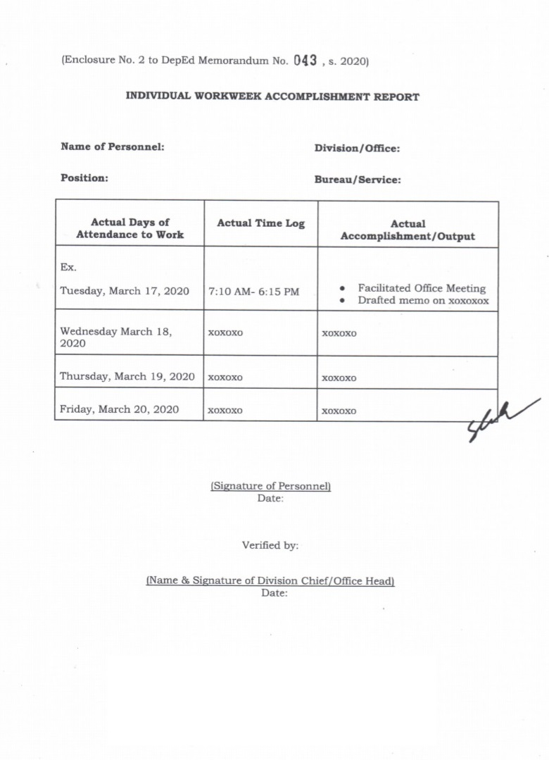 Submission of Office Workweek Plan and Individual Workweek For Weekly Accomplishment Report Template