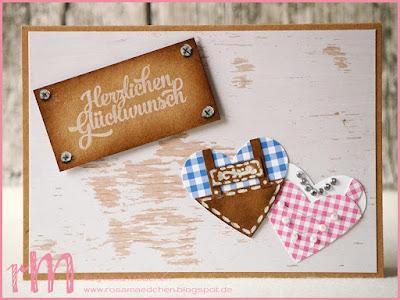 Stampin' Up! rosa Mädchen Kulmbach: Hochzeitskarte mit Trachtenherzen