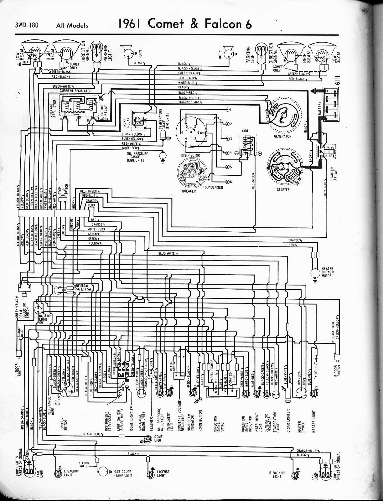 Free Auto Wiring Diagram: 1961 Ford Falcon & Comet Wiring Diagram