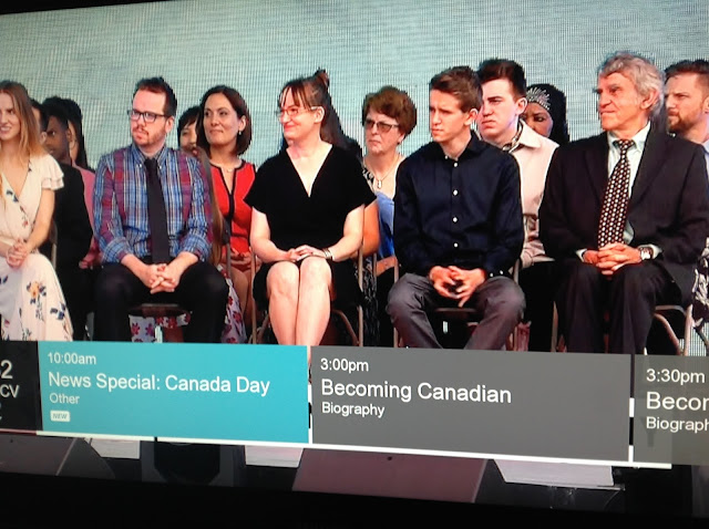 Screenshot CBC coverage Canada 150, Ottawa - Andrea McCrady becomes a Canadian!